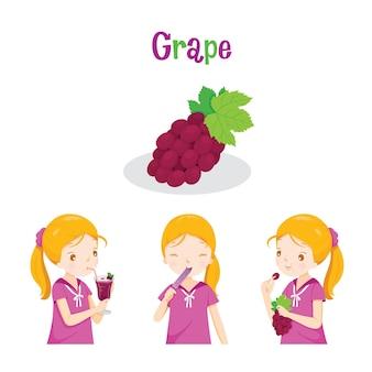 Ragazza con uva, succo di frutta, gelato e lettere, frutta tropicale, alimentazione sana