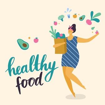 Ragazza con cibo sano in design piatto