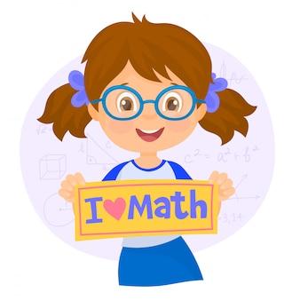 Ragazza con un banner i love matematica