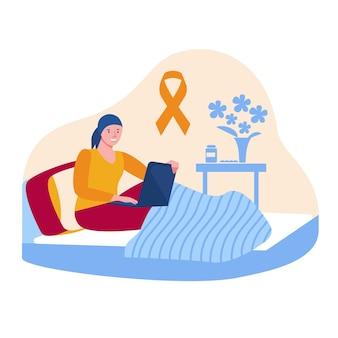 Una ragazza con la leucemia si siede sul letto con un computer portatile. nastro di consapevolezza arancione. comunicazione, lavoro da casa durante l'oncologia. concetto di vettore in stile cartone animato piatto.