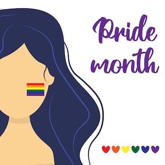 Ragazza con bandiera lgbt sulla guancia cartolina per il mese dell'orgoglio