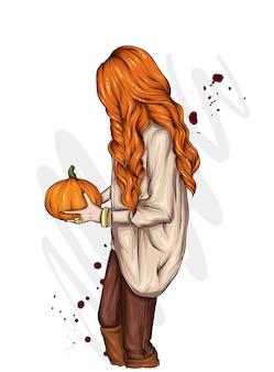 Una ragazza con i capelli lunghi in un maglione autunnale, tiene una zucca tra le mani. vacanze autunnali halloween.