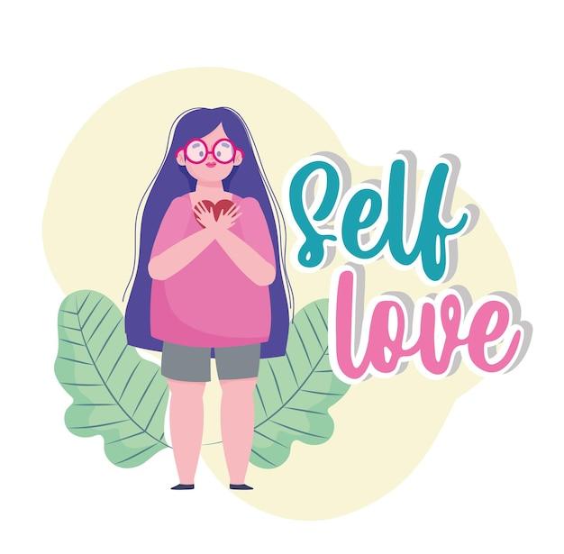 Ragazza con capelli lunghi e cuore personaggio dei cartoni animati di amore di sé illustrazione