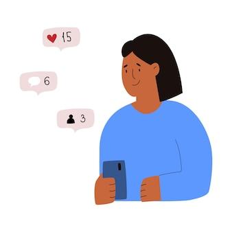 Ragazza con il telefonoillustrazione piatta vettorialeragazza che controlla la notifica push dei social network