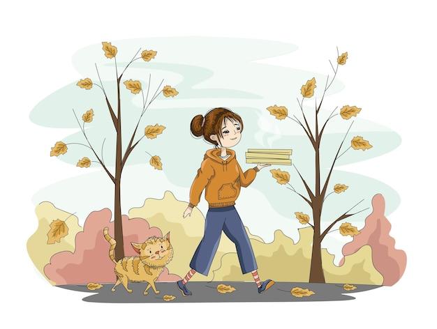 Ragazza con una pizza che attraversa il vicolo autunnale con il suo gatto