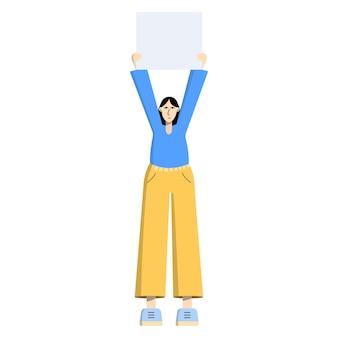 Ragazza con un cartellone striscione in mano singolo picchetto una donna partecipa a una protesta