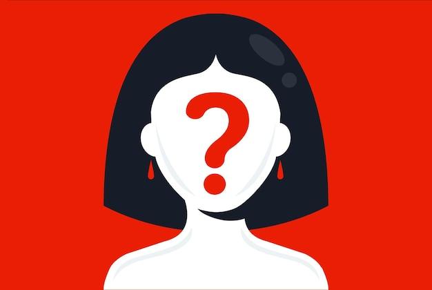 La ragazza con un punto interrogativo sul viso su uno sfondo rosa nasconde la tua faccia piatta illustrazione vettoriale Vettore Premium