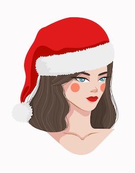 Ragazza con un'illustrazione del cappello della santa. bella ragazza vettore. ragazza di natale.