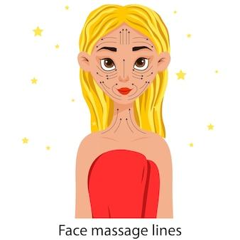Ragazza con uno schema di linee di massaggio del viso