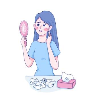 Ragazza con problemi di pelle