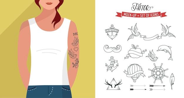 Ragazza con t-shirt e set di tatuaggi