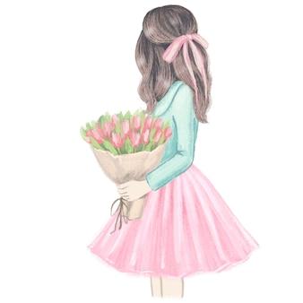 Ragazza con i tulipani. illustrazione di moda disegnata a mano.
