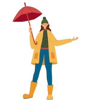 La ragazza con un ombrello gode della pioggia. pioggia autunnale. ragazza sorridente con l'ombrello. donna variopinta che gode della stagione autunnale all'aperto. donna felice che indossa impermeabile e stivali di gomma. illustrazione piana di vettore.