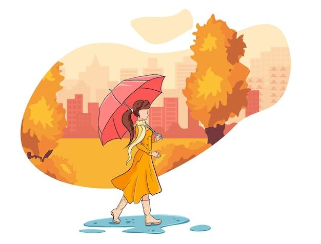 Una ragazza con un ombrello cammina nel parco autunnale. stile cartone animato. illustrazione vettoriale per design e decorazione.
