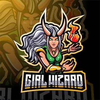 Design del logo della mascotte di esport mago della ragazza