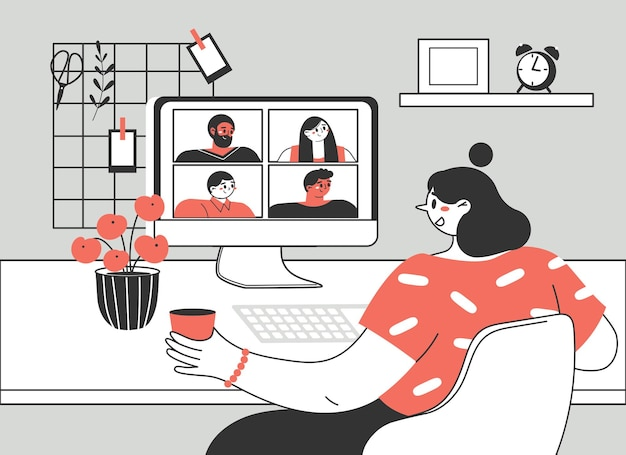 Ragazza o donna che utilizza un computer per riunioni virtuali collettive, videoconferenze di gruppo.