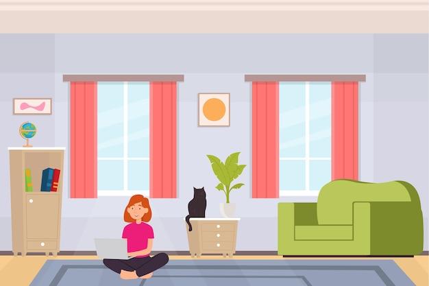 La ragazza lavora con un computer in remoto da casa. illustrazione