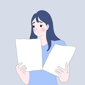 Illustrazione di preoccupazione e stress della ragazza