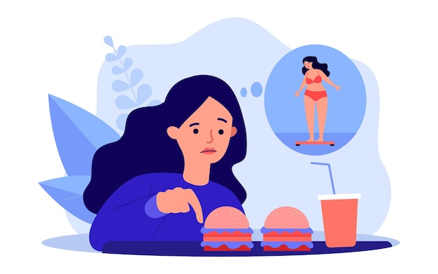 Ragazza preoccupata per il suo aspetto, mangiando fast food. illustrazione vettoriale piatto. cartoon donna guardando hamburger e soda, pensando di essere in sovrappeso. dieta, salute, concetto di cibo spazzatura