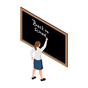 Ragazza che scrive di nuovo a scuola con il gesso sulla lavagna nera 3d isometrico
