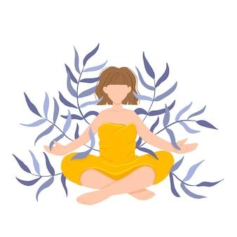 La ragazza nel loto di yoga pratica la meditazione.