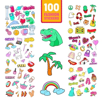 Doodle da ragazzina con arcobaleno e unicorno