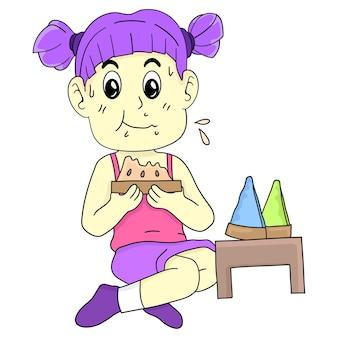 Le ragazze stanno mangiando le torte. adesivo carino illustrazione dei cartoni animati