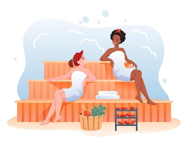 Bagno di ragazze nello stabilimento balneare sauna pubblica, attività sana per la procedura di bellezza di cura del corpo benessere