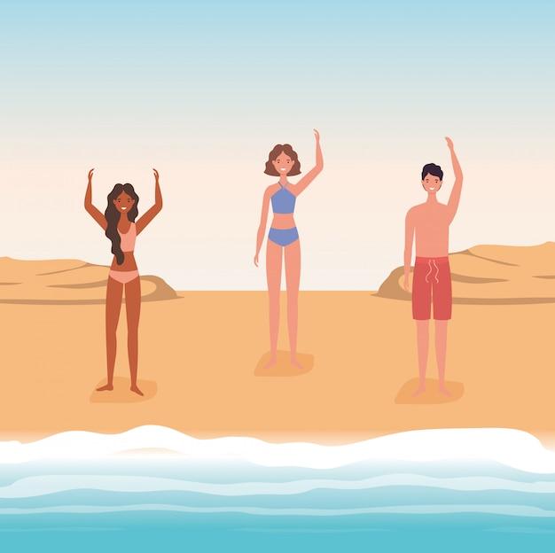 Cartoni animati di ragazze e ragazzi con il costume da bagno al disegno vettoriale spiaggia