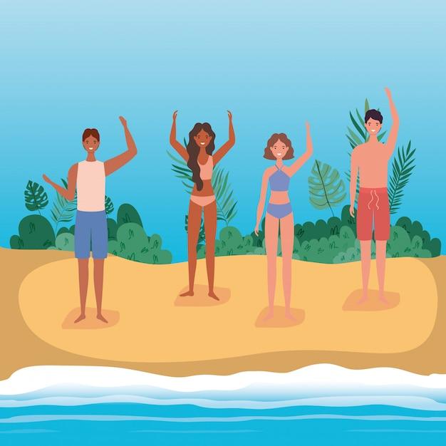 Cartoni animati di ragazze e ragazzi con costume da bagno in spiaggia con arbusti, disegno vettoriale