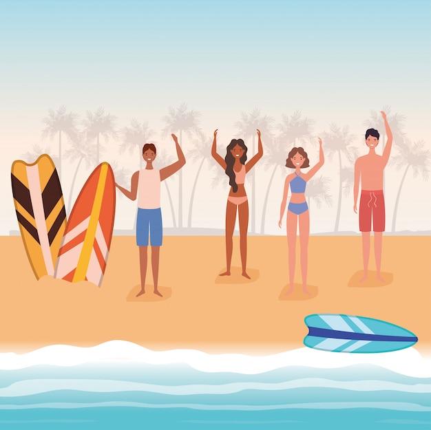 Cartoni animati di ragazze e ragazzi con costume da bagno in spiaggia con disegno vettoriale di tavole da surf