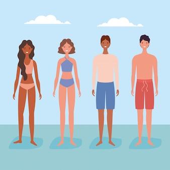 Cartoni animati di ragazze e ragazzi con costume da bagno e nuvole disegno vettoriale