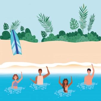 Cartoni animati di ragazze e ragazzi con il costume da bagno in mare davanti alla spiaggia con disegno vettoriale di foglie