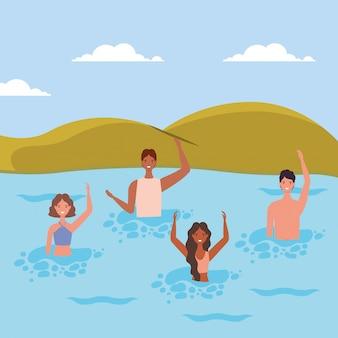 Cartoni animati di ragazze e ragazzi con il costume da bagno in mare davanti al disegno vettoriale di montagne