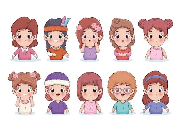 Illustrazione di raccolta di cartoni animati di ragazze