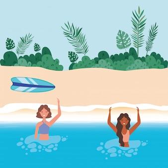 Cartoni animati di ragazze con costume da bagno in mare di fronte alla spiaggia con disegno vettoriale di foglie