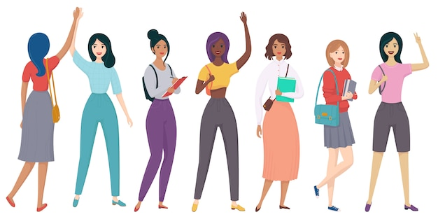 Ragazze, personaggi. giovane donna, studenti sorridenti, saluto, studio. razza diversa