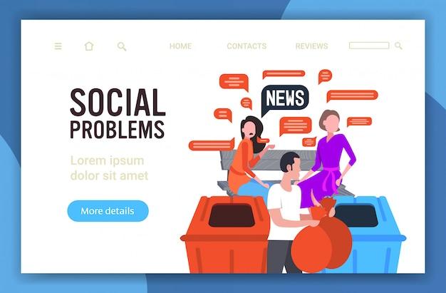 Ragazze in chat durante la riunione discutendo notizie quotidiane uomo buttare via spazzatura chat bolla comunicazione concetto di problemi sociali
