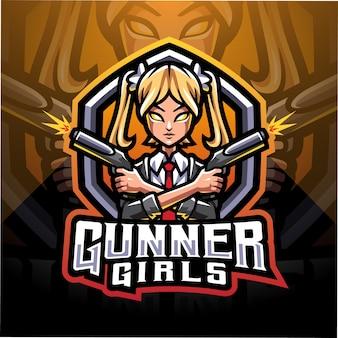 Logo della mascotte di ragazze gunner esport