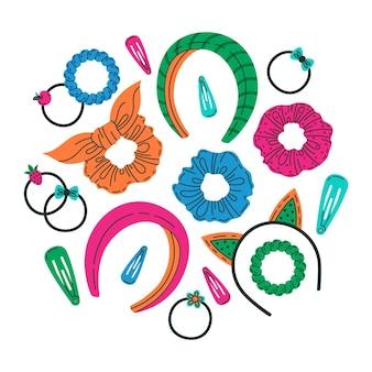 Accessori per capelli per ragazze, elastici per capelli, fascia per capelli, set di accessori per capelli vettoriale