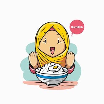 Le ragazze in hijab pregano prima di mangiare