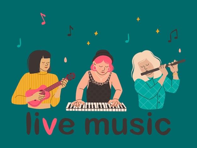 Le ragazze suonano strumenti musicali flauto ukulele pianoforte donne musicisti