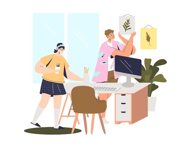 Ragazze che preparano il posto di lavoro a casa per il lavoro freelance o l'istruzione a distanza.