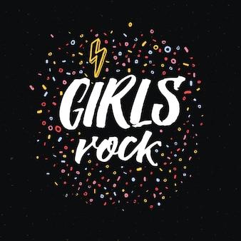 Iscrizione rock di ragazze. slogan del femminismo su sfondo nero per il design femminista di t-shirt, abbigliamento e poster.