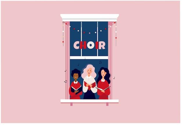 Ragazze che cantano in un piccolo coro rimanere a casa o il concetto di blocco persone nel telaio della finestra cantando canti natalizi illustrazione piatta