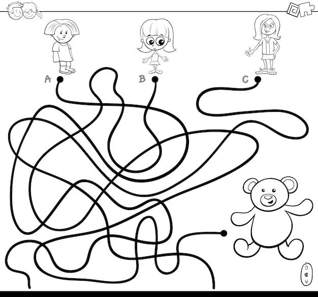 Libro di colore del gioco del labirinto delle ragazze e dell'orsacchiotto