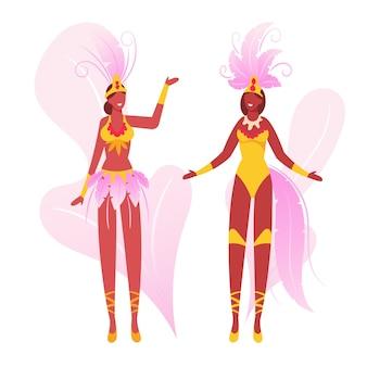 Ragazze che indossano costumi da festa con ali di piume che ballano. cartoon illustrazione piatta