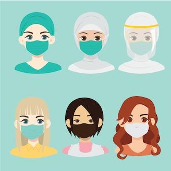 Ragazze che indossano la maschera