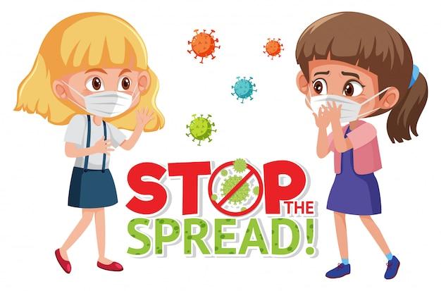 Le ragazze che indossano con smettere di diffondere il segno del virus