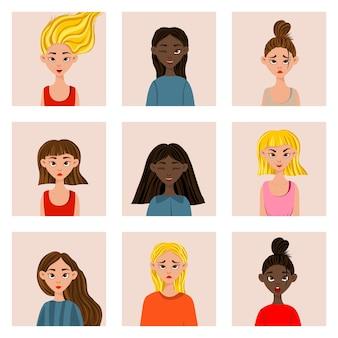 Ragazze con diverse espressioni facciali ed emozioni. stile cartone animato. illustrazione vettoriale.